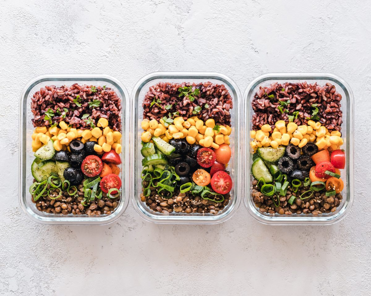 A colorful photo of fresh, healthy, meatless food in three containers.